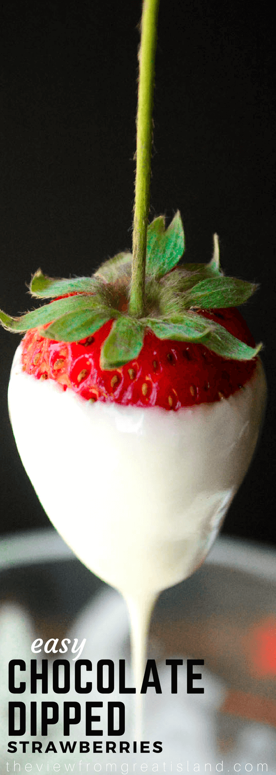 Easy Chocolate Dipped Strawberries ~ this classic spring and summer dessert is healthy and lots of fun to do.  Use long stemmed strawberries and your favorite chocolate for a stunning treat. #strawberries #chocolate #romanticdessert #valentinesdaydessert #mothersday #easter #springdessert #fruit #fruitdessert #glutenfree  #romantic #wedding #weddingshower
