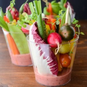 adorable finger salad cups with rhubarb vinaigrette for effortless entertaining