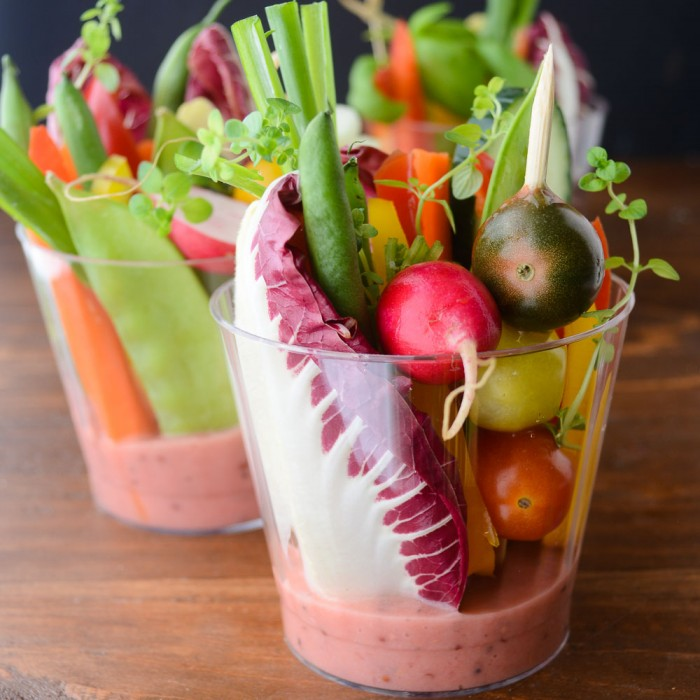 adorable finger salad cups with rhubarb vinaigrette for effortless entertaining