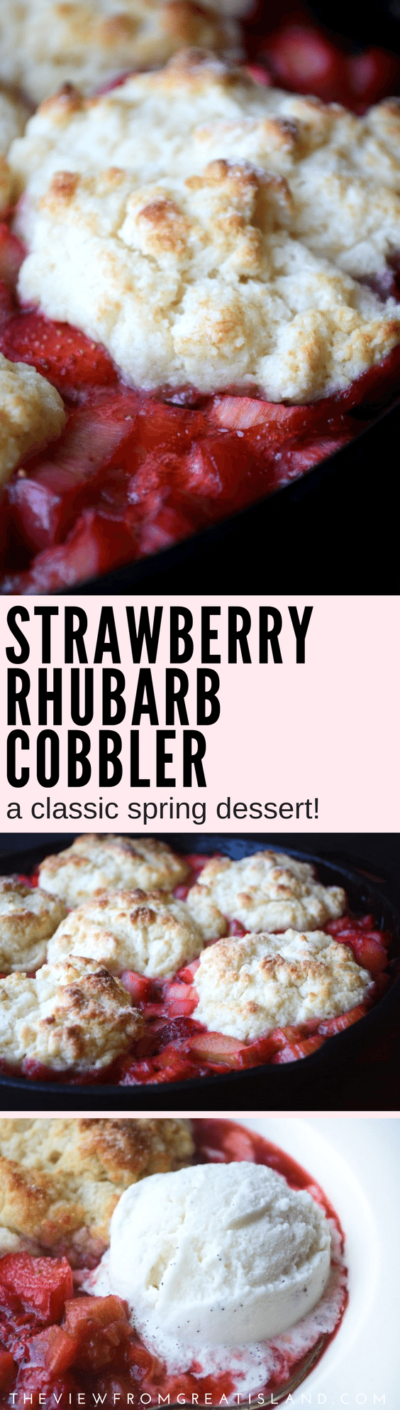 Strawberry Rhubarb Cobbler ~ it's one of the joys of the season, with juicy ruby red strawberries and rhubarb bubbling up around a flaky biscuit dough, what are you waiting for? #springdessert #strawberryandrhubarb #rhubarb #spring #dessert #strawberries #cobbler #biscuit #classicdessert #dessertrecipe #springrecipe