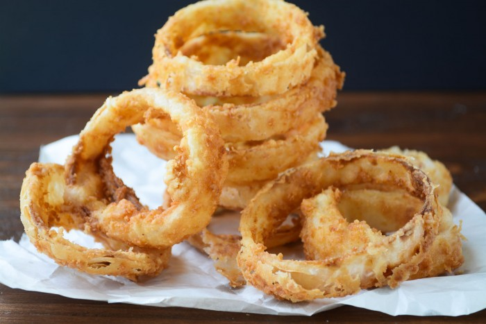 sweet walla walla onion rings with basil buttermilk dip