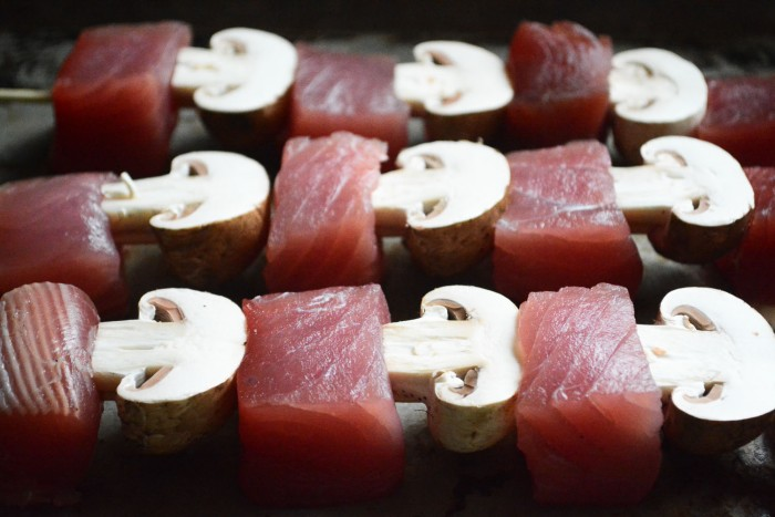 ahi tuna and cremini mushrooms