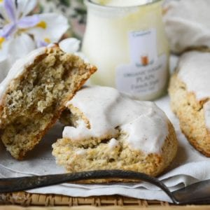 Flaky and tender banana walnut scones with browned butter icing