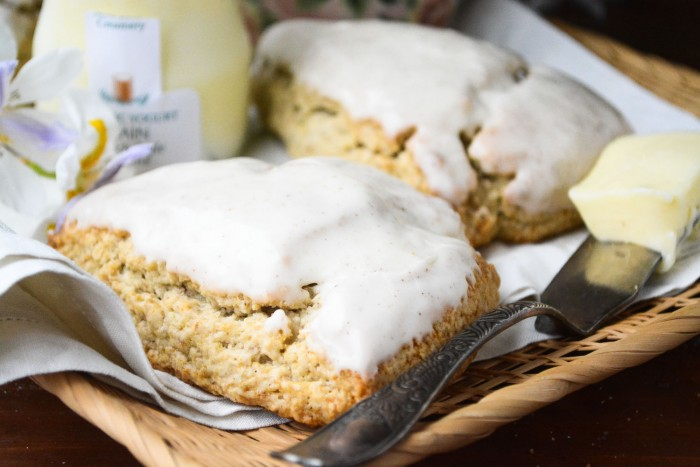 banana walnut scones with browned butter glaze