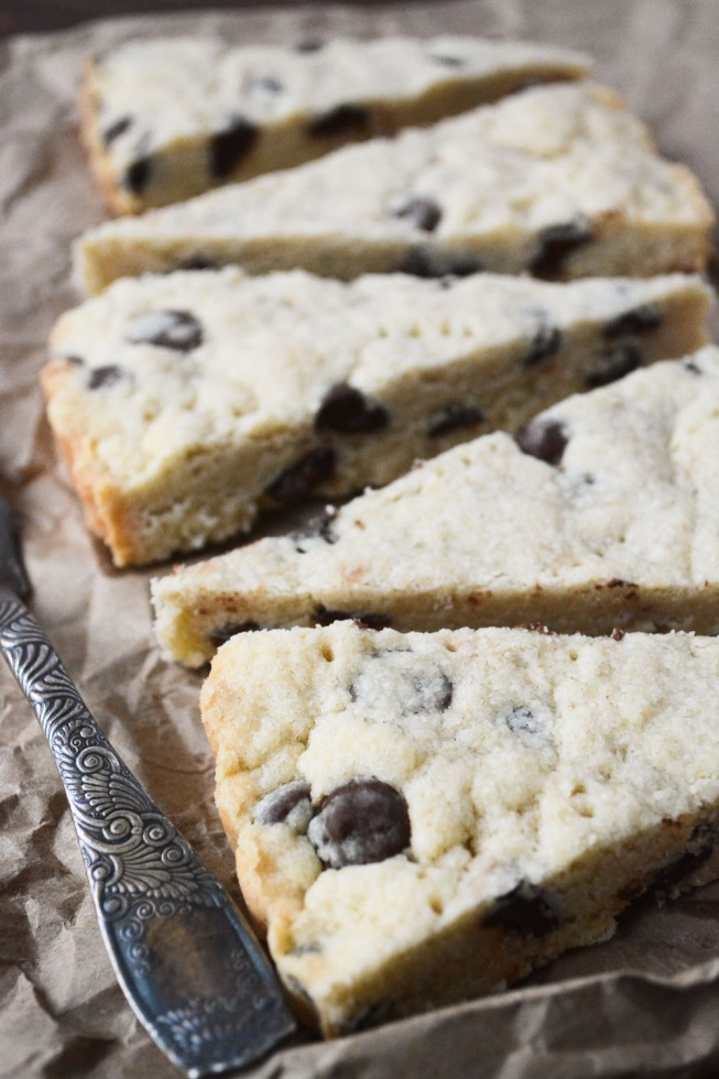 chocolate chip shortbread slices