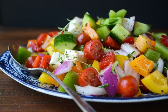 Israeli Chopped Salad is a great example of the healthy vibrant cuisine of the Mediterranean