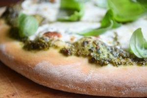 sweet basil pizza, close up