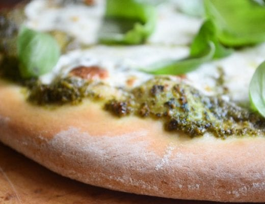 sweet basil pizza, close up