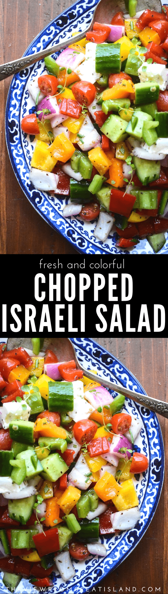 Israeli Chopped Salad ~ this healthy chunky chopped salad is the perfect dish for summer gatherings because there's no mayo to spoil, and the veggies retain their crunch for days. Don't forget about it during the rest of the year, though, it makes the perfect side for almost any meal. #salad #israelisalad #choppedsalad #healthysaladrecipe #glutenfree #vegetarianrecipe #lowcarb #potlucksalad #barbequesalad