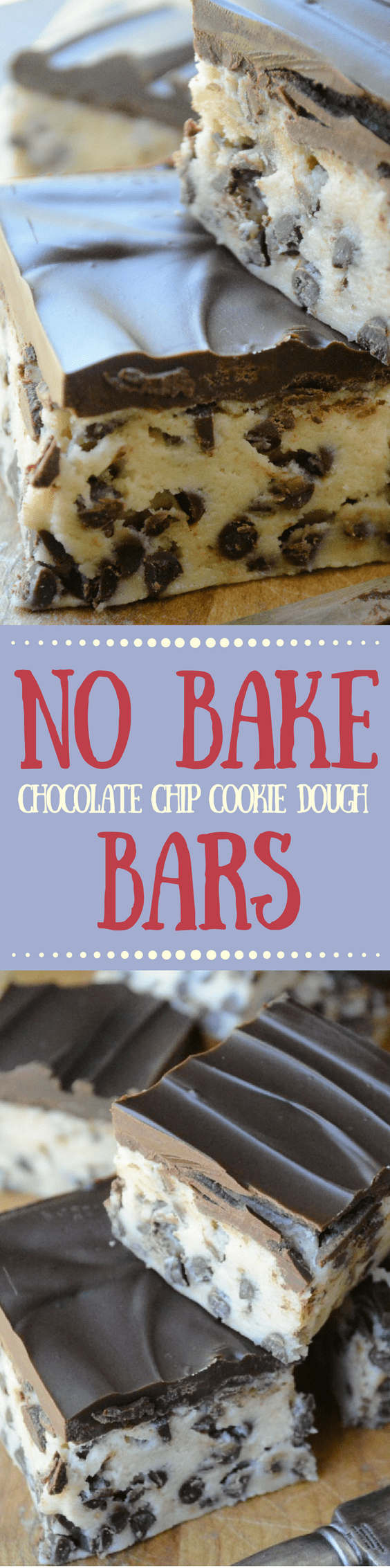 No Bake Chocolate Chip Cookie Dough Bars PIN
