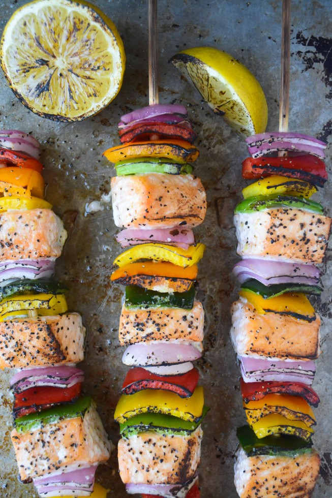 quick cooking salmon and pepper skewers for grilling season!