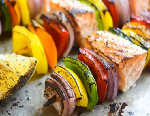 Rainbow Salmon Skewers are colorful, healthy, low carb and so easy to make!