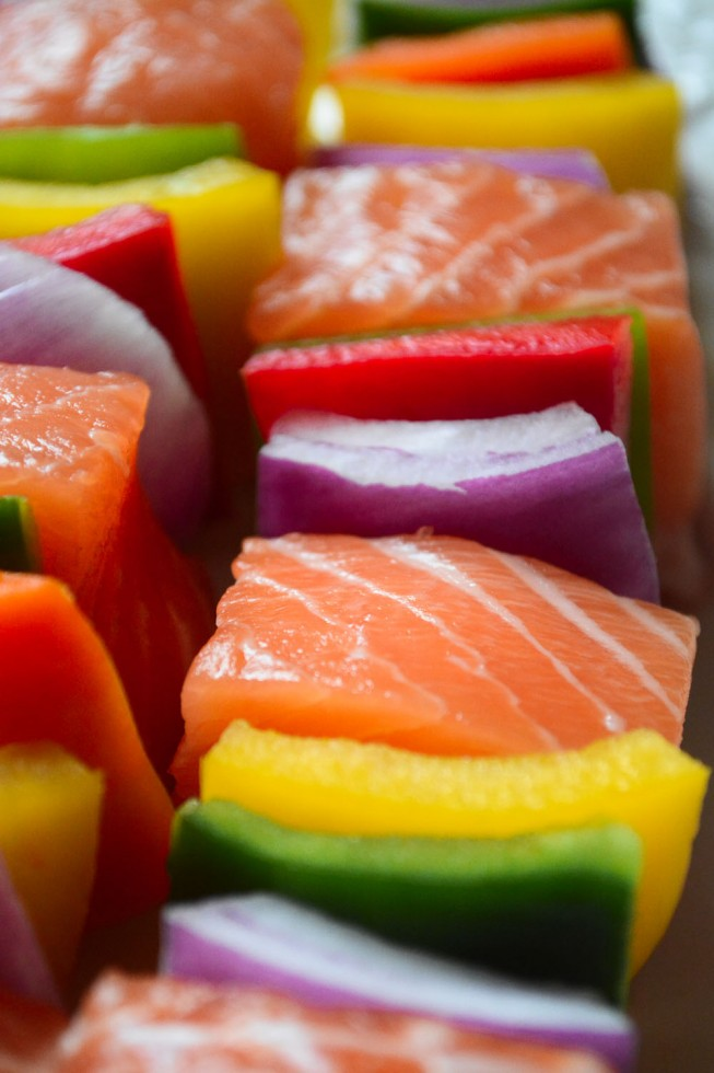 The healthy way to grill - salmon skewers with colorful peppers