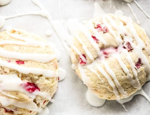 strawberry scones drizzled with sweet glaze