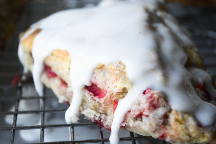 glazed strawberry shortcake scone