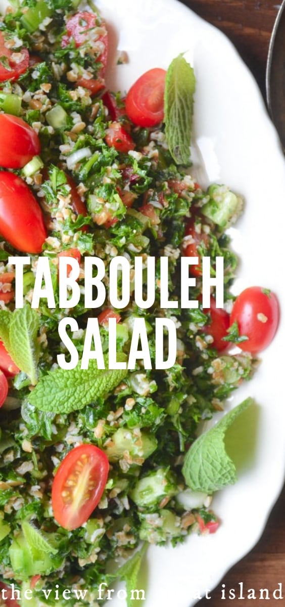 Tabbouleh is a fresh wheat and parsley salad that has been a fixture of Middle Eastern cuisine for centuries.  This delicious classic salad never gets old... #salad #authentic #recipe #middleeastern #lebanese #easy #vegan #vegetarian #wheat #wholegrain #grainsalad