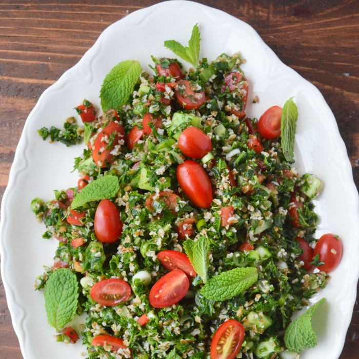 Middle Eastern Tabbouleh Salad is a healthy part of a Mediterranean Diet.