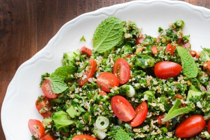 bulgar wheat and parsley make up a wonderful Tabouleh Salad