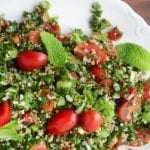 classic Middle Eastern Tabouleh on a pkatter