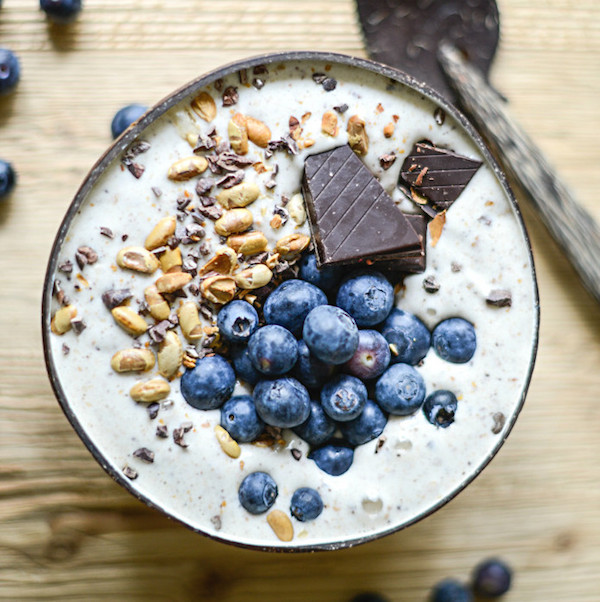 vanilla smoothie bowl with dark chocolate and blueberries from Eat Better Not Less