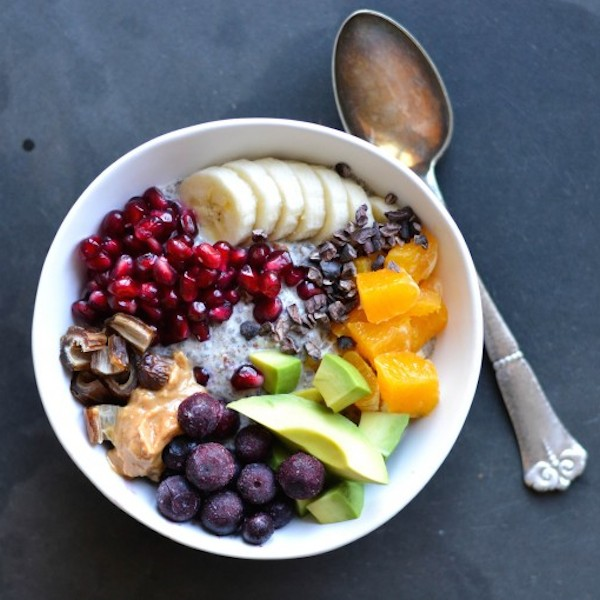 almond and chia breakfast bowl from A Tasty Love Story