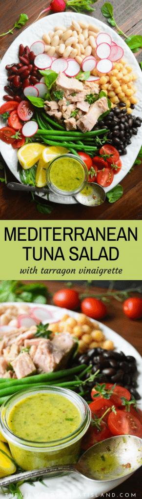 Mediterranean Tuna Salad with Tarragon Vinaigrette ~ this classic healthy French tuna salad plate is a wonderful melange of flavors, colors, and textures. #GenovaTuna #tuna #mediterraneanfood #tunasalad #healthy #lunch #tunasaladrecipe #healthysaladrecipe #salad #seafood #fish