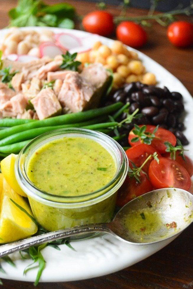Mediterranean Tuna Salad on a white plate