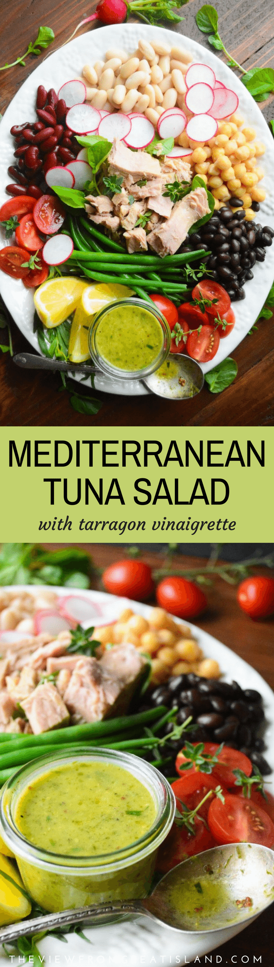 Mediterranean Tuna Salad with Tarragon Vinaigrette ~ this classic healthy French tuna salad plate is a wonderful melange of flavors, colors, and textures. #recipe #French #authentic #GenovaTuna #tuna #mediterraneanfood #tunasalad #healthy #lunch #tunasaladrecipe #healthysaladrecipe #salad #seafood #fish