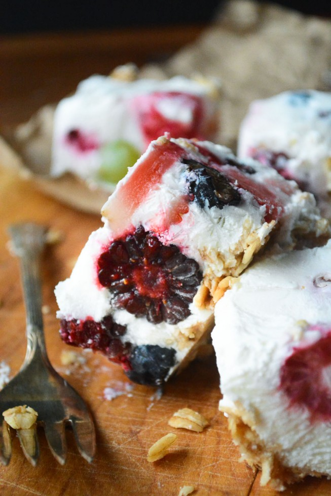 healthy and delicious summer breakfast bars made with Greek yogurt and fruit