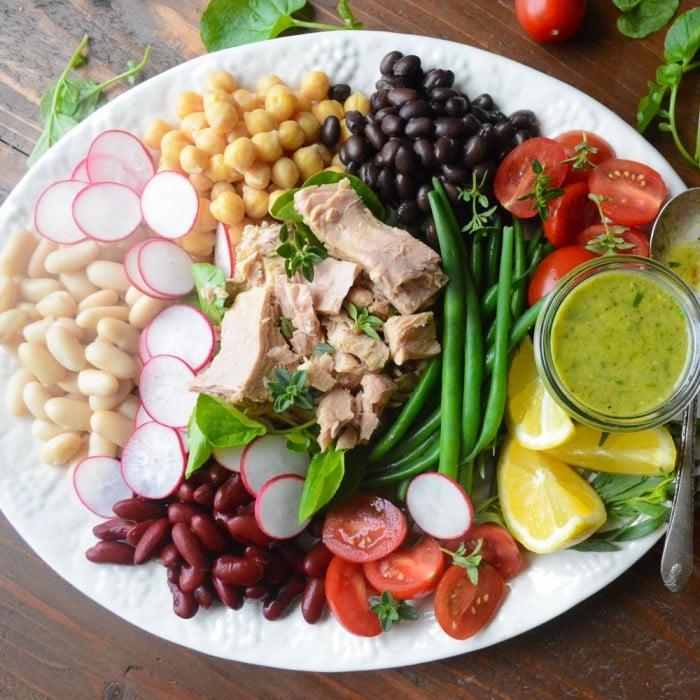 Mediterranean inspired tuna and bean salad with zesty tarragon vinaigrette