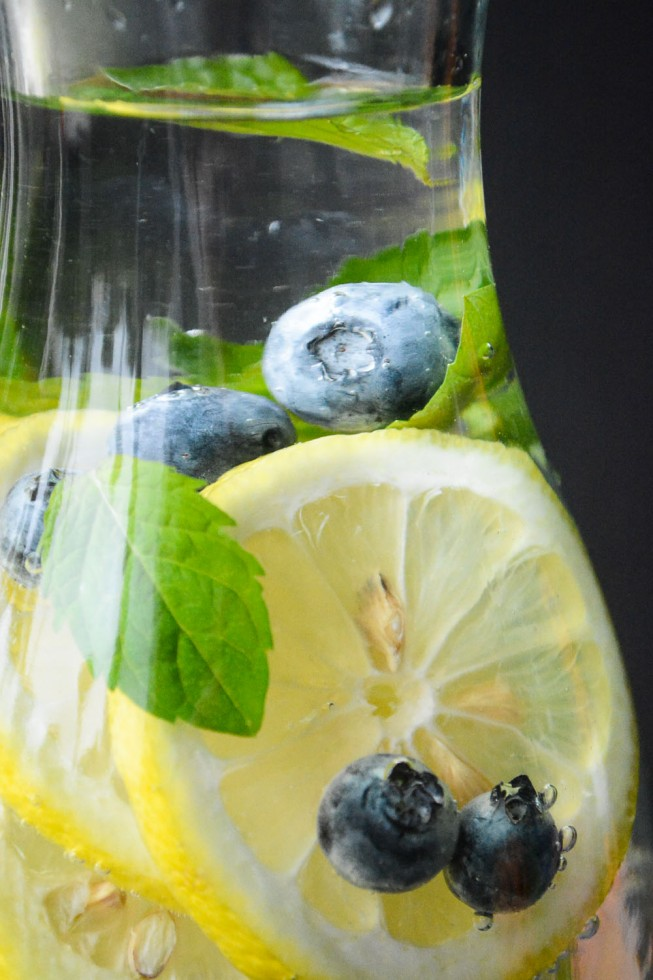 water infused with lemon, blueberry and mint