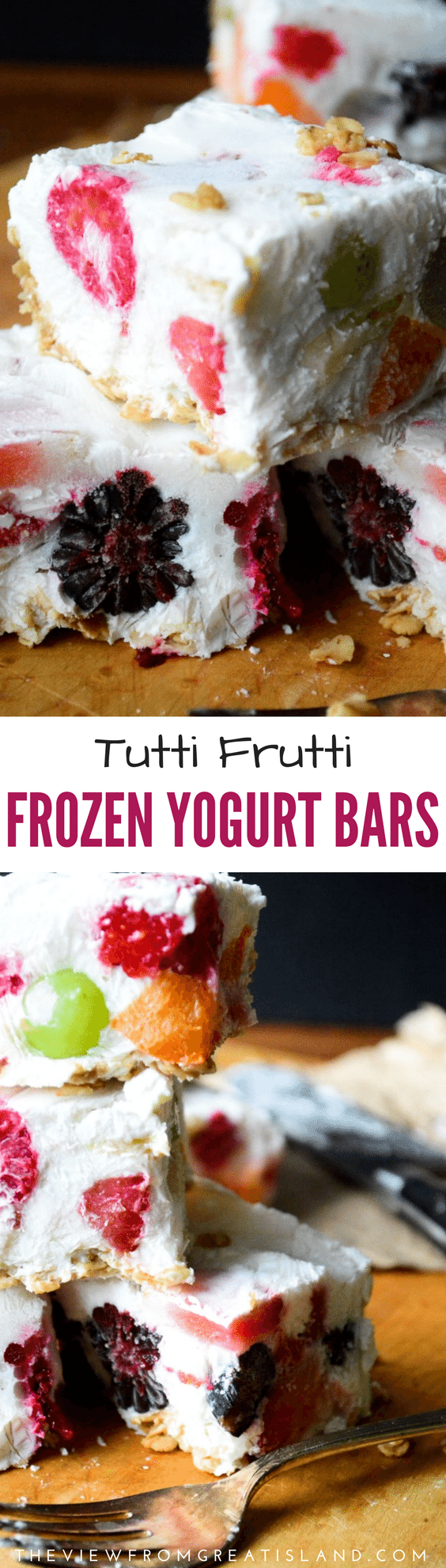 These Tutti Frutti Frozen Yogurt Bars are fun to make, and pretty, too. They make a nice healthy treat for kids of any age! #healthybreakfast #frozenyogurt #yogurtbars #fruit #healthy #breakfastbars #yogurt #healthybreakfastideas #kids #kidsbreakfast #healthysnack