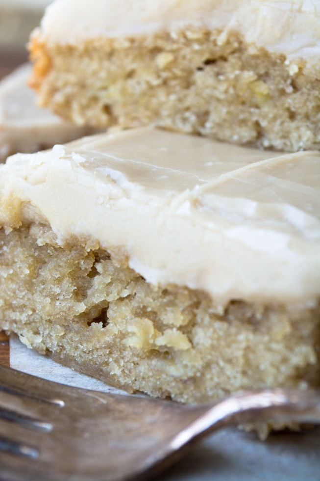 Simple Banana Blondies with Caramel Icing