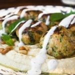 Hummus with Turkey and Zucchini Meatballs