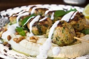 hummus with juicy turkey zucchini meatballs
