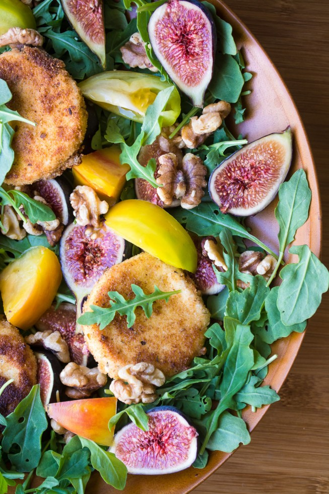 A wonderful contrast of textures and flavors in this simple salad of figs, fried goat cheese, and arugula