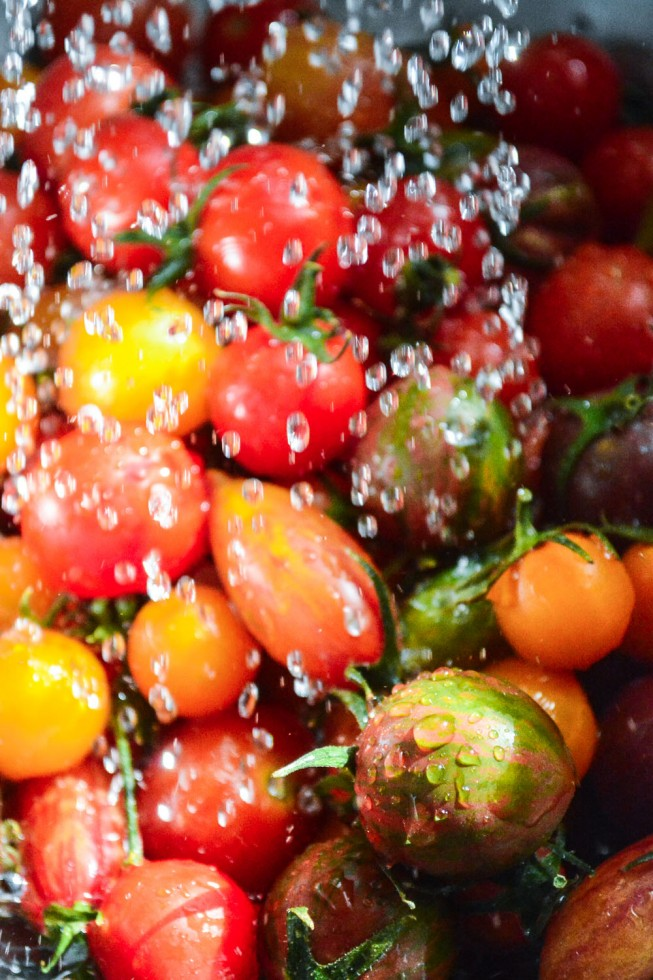 washing heirloom cherry tomatoes
