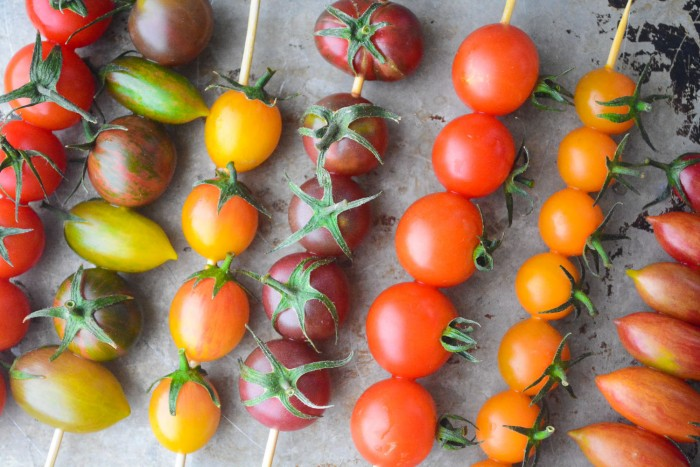 skewered heirloom cherry tomatoes