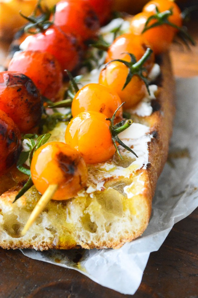 Grilled cherry tomato bruschetta for a great summer appetizer or light meal
