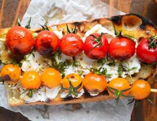 grilled cherry tomato bruschetta