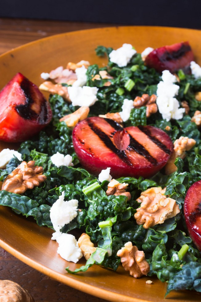 Shredded kale and grilled plumcot salad