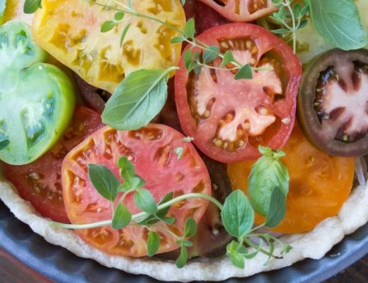 Juicy tomatoes baked up in a cheesy Southern style pie