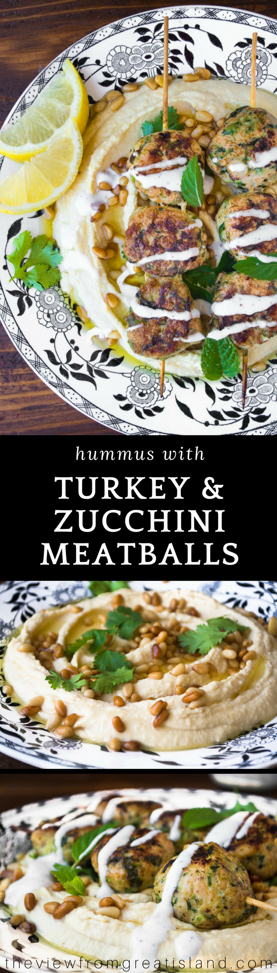 Hummus with Turkey & Zucchini Meatballs ~ I made a meal out of my favorite creamy hummus appetizer simply by topping it with tender turkey meatballs lightened up with zucchini. #appetizer #maincourse #healthydinner #middleeastern #hummus #meatballs #turkeymeatballs #healthymeatballs #zucchini #groundturkey #yotamottolenghi #ottolenghi