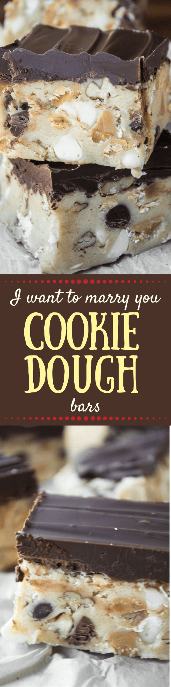 I Want To Marry You Cookie Dough Bars are chocked full of chocolate chips, white chocolate chips, peanut butter chips, oats, and pecans. There's a little bit of everything in there, no wonder people tend to get romantic around them. #cookiedough #cookies #chocolatechipcookiedough #rawcookiedough #dessert #bars #chocolate
