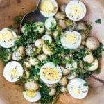 Delicious and easy to throw together, an alternative to mayo laden potato salad.