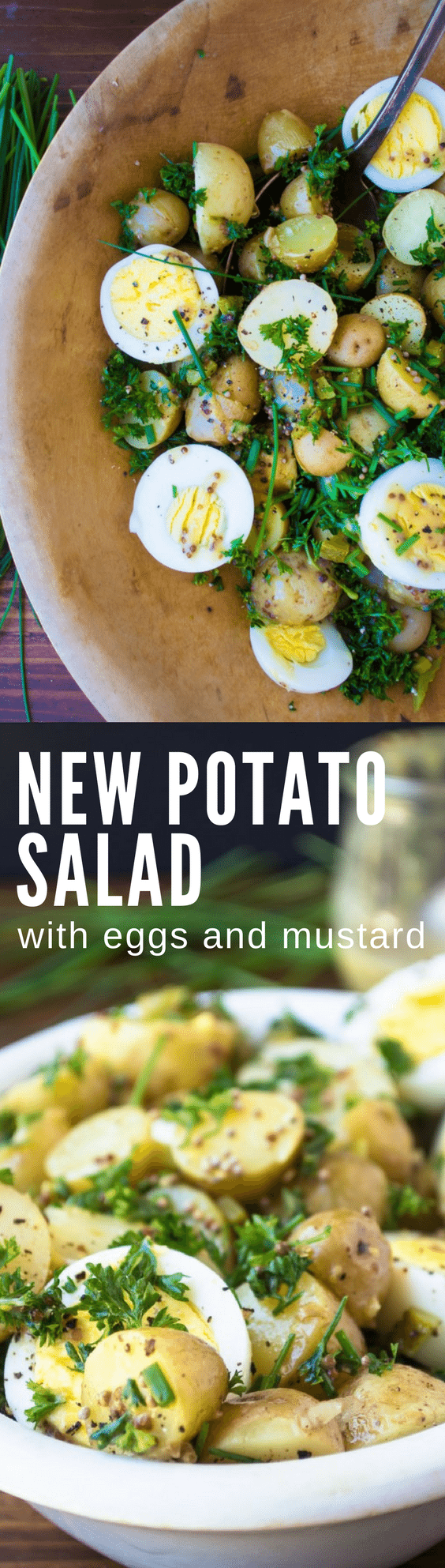 New Potato Salad with Eggs and Mustard ~ this gutsy potato salad will up your hamburger and hotdog game all spring and summer, and will quickly become your new favorite! #mayofree #potatosalad #eggs #potatoandeggsalad #saladrecipe #vegetables #potatoes #newpotatoes #summersaladrecipe #sidedish #salad #healthy