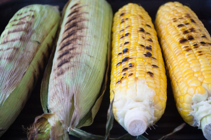 Roasting corn for Mexican Street Corn Salad