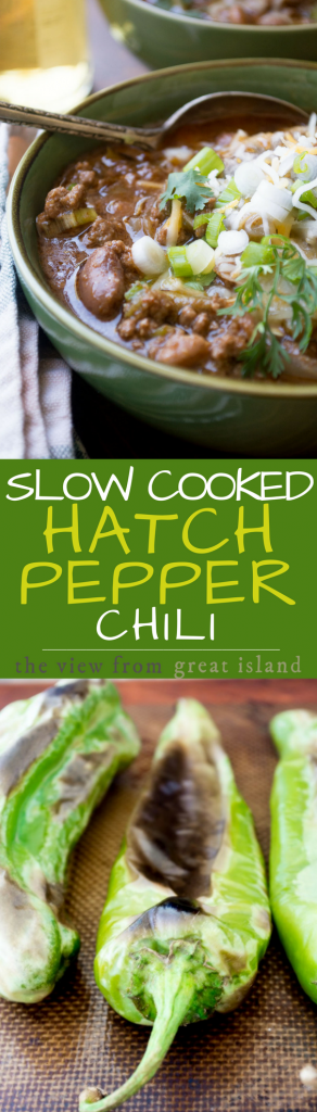 Slow Cooked Hatch Pepper Chili ~ this lush chili is perfect for the summer months when fresh Hatch chiles from New Mexico are available ~ but use canned or frozen chiles the rest of the year so you don't miss this amazing slow cooked meal. | crock pot | stews | New mexican chili | Hatch chili peppers |