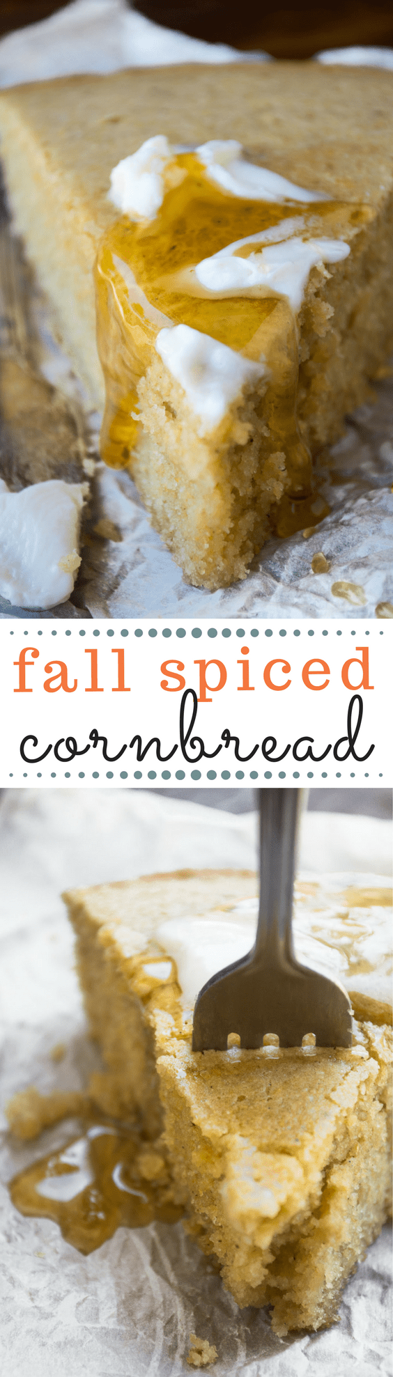 Fall Spiced Cornbread ~ this moist skillet cornbread is warmed up with a touch of cinnamon, clove, nutmeg, and ginger, making it the perfect side for all your fall soups and stews! | quick bread | fall recipes | skillet bread | side dish |