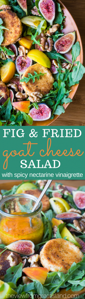 Fig and Fried Goat Cheese Salad with Nectarine Vinaigrette ~ oh wow, where to start? With the gorgeous fresh figs, or the crispy goat cheese all warm and melty inside? The nectarine vinaigrette is an explosive flavor bomb, too! #salad #arugula #figs #goatcheese #fallsalad #gorgeoussalad #fallside #holidayside #Thanksgivingsalad #Christmassalad
